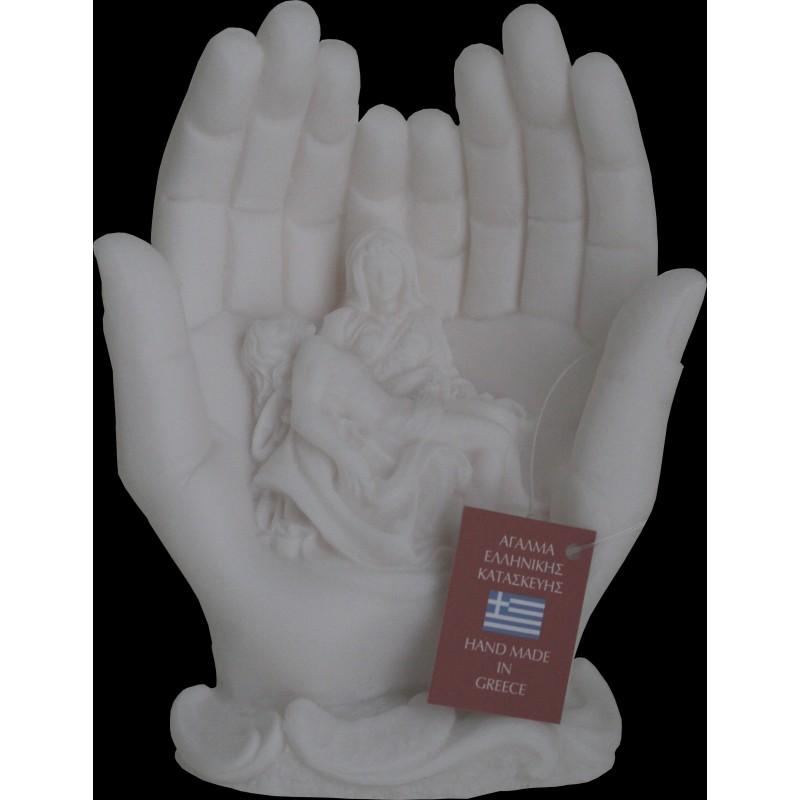 Statue Pieta reproduction Michel Ange an albatre H. 16CM
