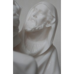 Statue Sainte Famille, la fuite en Egypte. Albatre Blanc