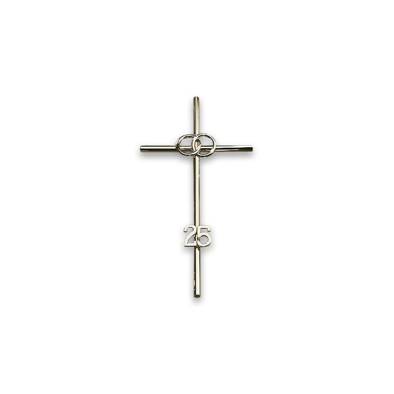 Croix 25 ans de mariage - argentée - NOCES D'ARGENT