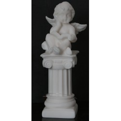 Décoration statue d'ange sur colonne angelot chérubin H. 14CM
