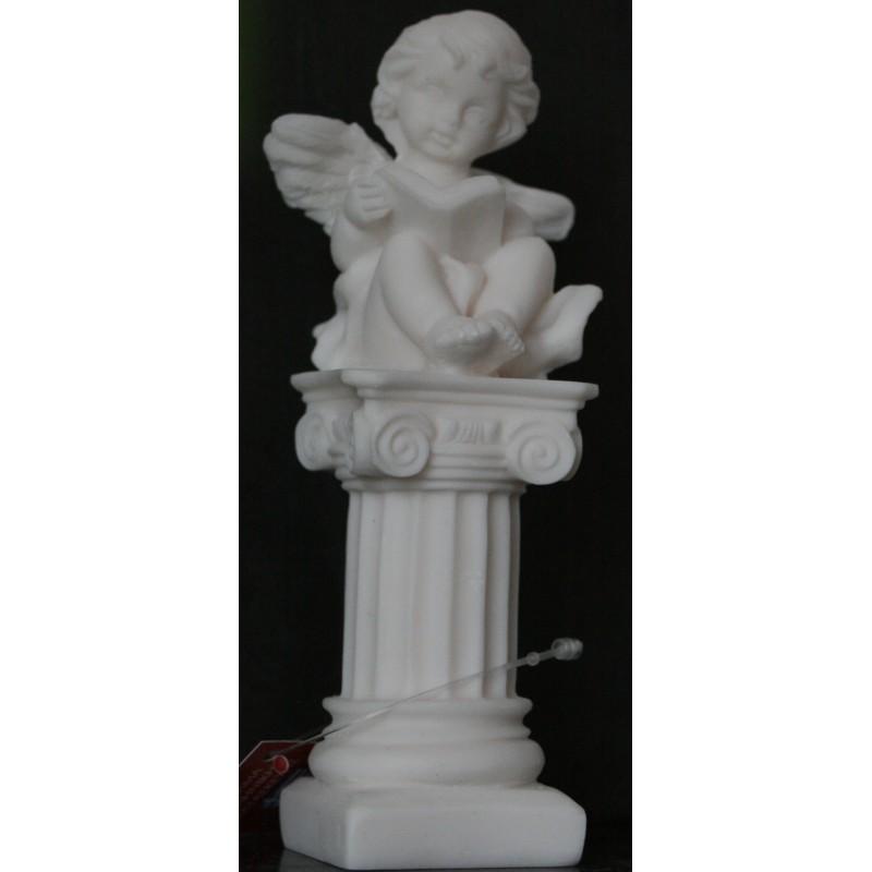 Statuette d'angelot sur colonne ange chérubin albâtre H. 14 CM