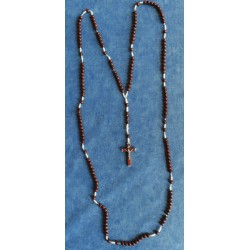 Rosaire à 15 dizaines Chapelet grains en bois brun