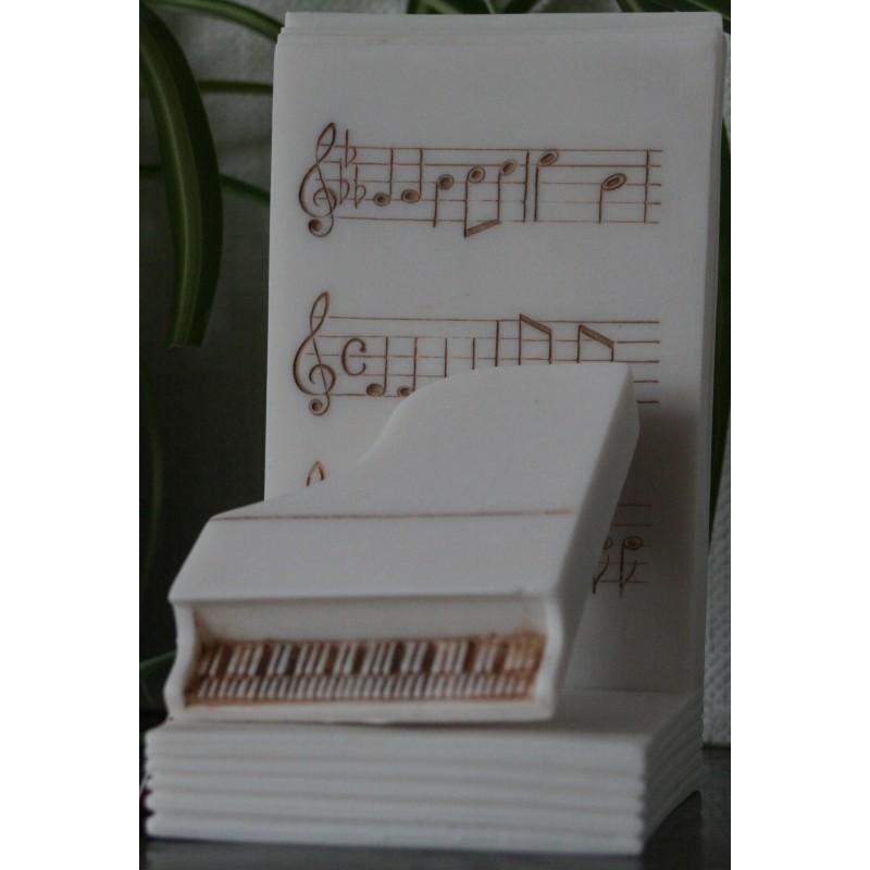 Lot de 2 presses livres en albâtre - Décoration Piano et Violon H. 16 CM