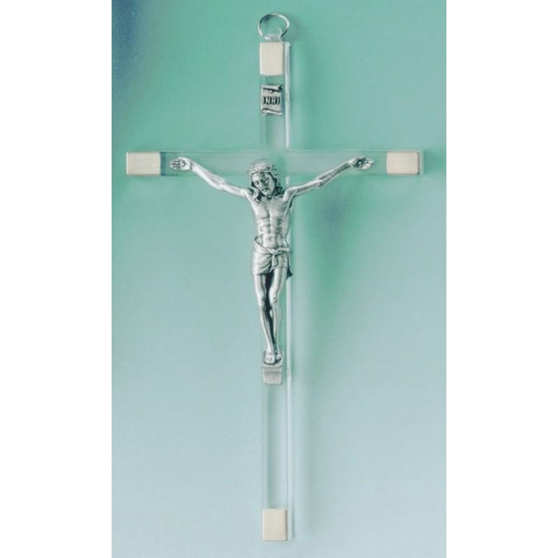 Croix imitation verre Crucifix Jésus Christ H 17cm