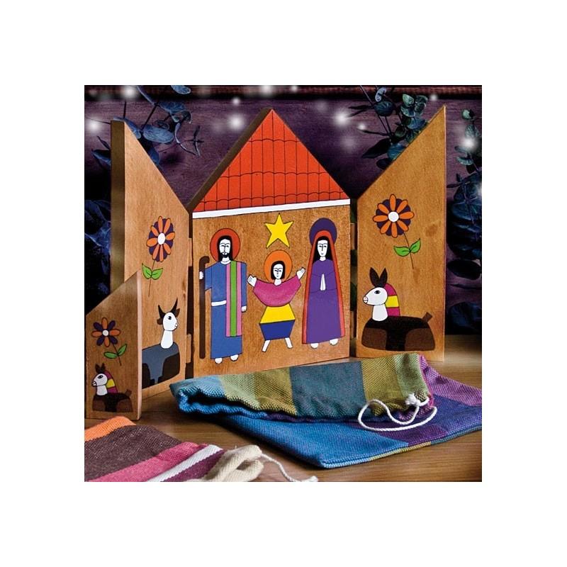 Crèche de Noël Triptyque en bois peint à la main au Salvador décoration sapin