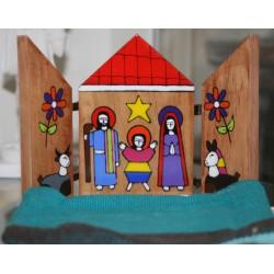 Icone Crèche de Noel Triptyque en bois