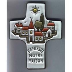 Croix Curcifix céramique Benissez notre maison couleur grise
