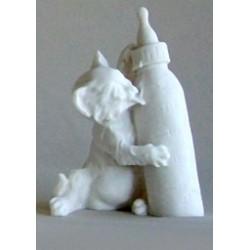 Petit chaton avec biberon décoration pour bapteme