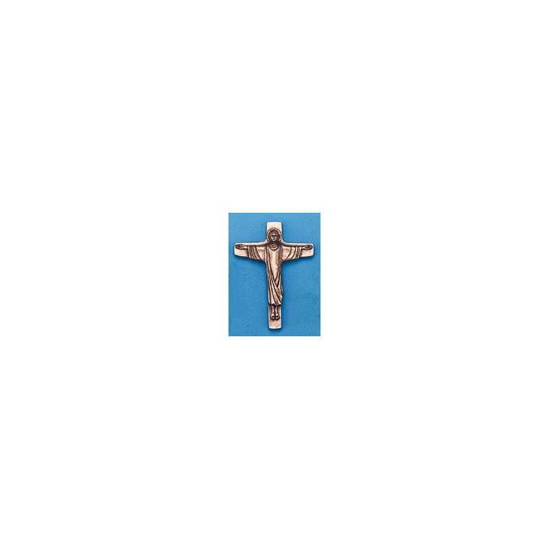 Croix Christ Ressuscité Coulée en bronze H 24 CM