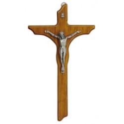 Crucifix Croix en bois avec corpus argenté H. 25cm L. 14 cm