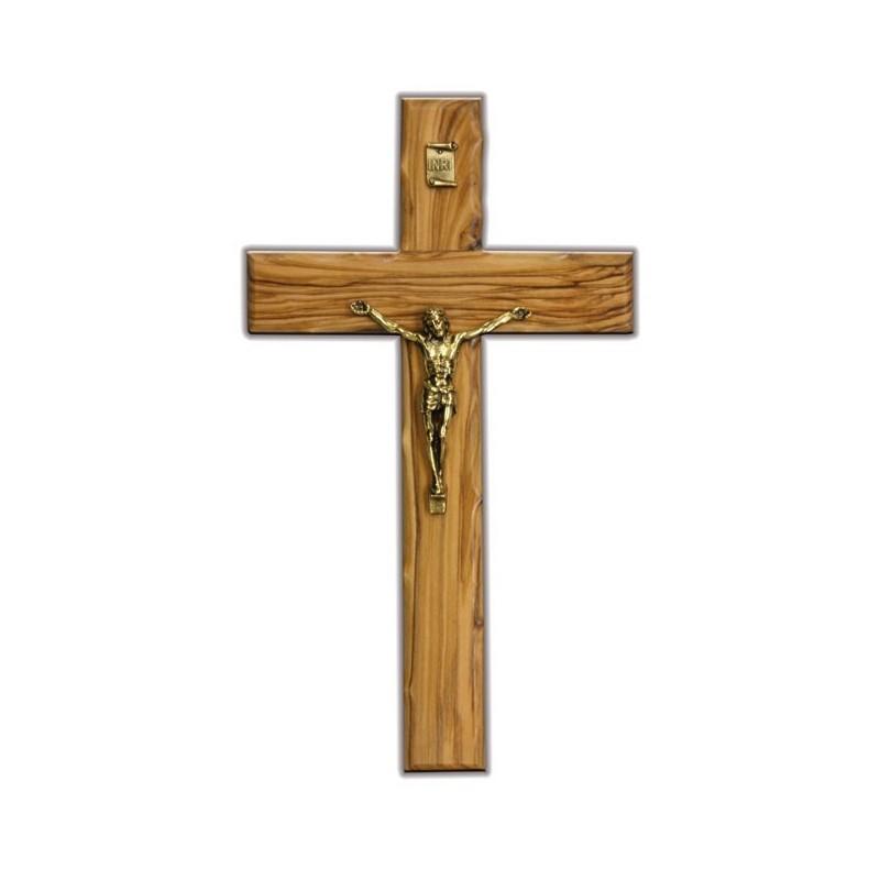 Croix en bois d'olivier, avec corpus en cuivre jaune, H. 24.5cm, L. 14cm