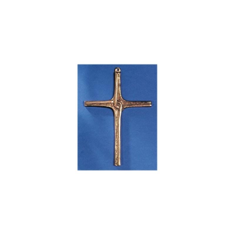 Crucifix Croix Coulée en bronze H 14 CM