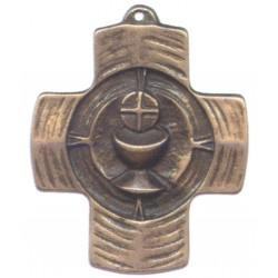 Crucifix Croix Sainte Communion en zinc couleur bronze H 9 CM