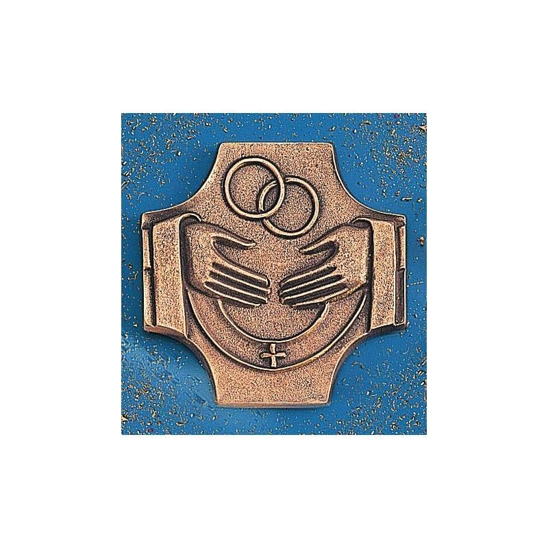 Croix de mariage coulée en bronze 11.5 cm