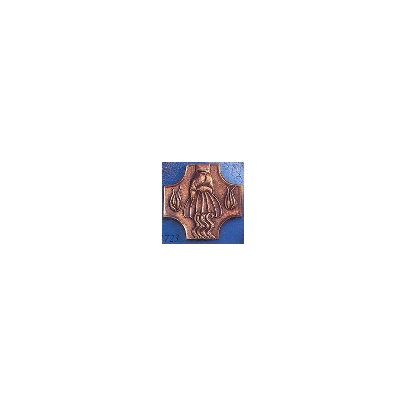 Croix de baptême 11,5 x 11,5 cm Coulée en bronze