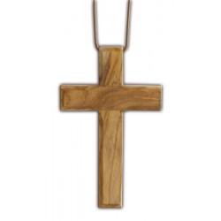 Croix d'aube en bois d'olivier pour première communion avec cordelette