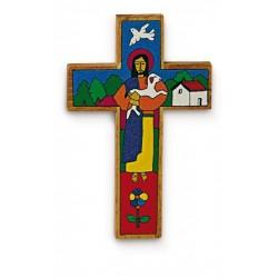 Crucifix Croix du Bon Pasteur Peint à la main au Salvador H. 45 CM