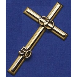 Noces d'or Croix de mariage métallique couleur laiton