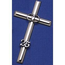 Noces d'argent Croix de mariage métallique couleur laiton