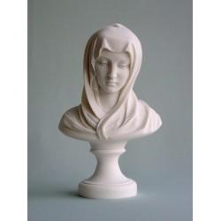Buste de la Très Sainte Vierge Marie en albatre blanc H. 30 CM