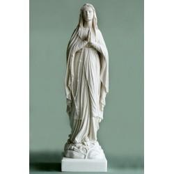 Statue Vierge Marie priante, Lourdes en albatre blanc