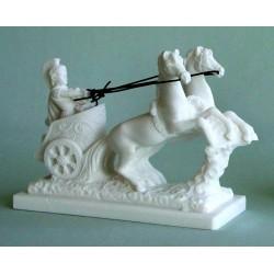 Statue Cheval Char Romain albatre blanc  H. 11 CM