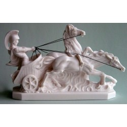 Grande Statue Cheval Char Romain albatre blanc  H. 21 CM