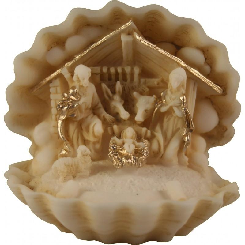 Crèche de Noel miniature en albatre colorée H. 7 CM