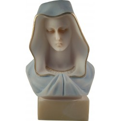 Statue Buste de la Très Sainte Vierge Marie en albatre blanc H. 14 CM