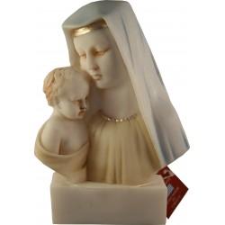 Statue Buste de la Très Sainte Vierge Marie à l'enfant Jésus  en albatre coloré H. 14 CM