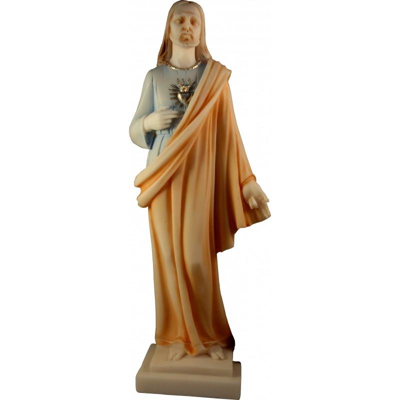 Statue du Sacré Coeur de Jésus Christ en albatre coloré H. 27 CM