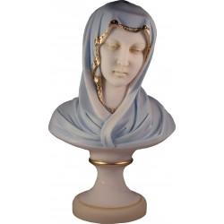 Buste de la Très Sainte Vierge Marie en albatre coloré H. 30 CM