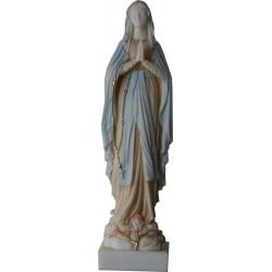 Statue Très Sainte Vierge Marie Lourdes, Albâtre coloré H. 42 cm