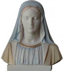 Statue Buste Sainte Vierge Marie en albatre blanc H. 30 cm