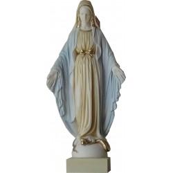 Grande Statue de la Très Sainte Vierge Marie de la Médaille Miraculeuse en albatre blanc H. 51 CM