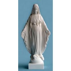Statue Vierge Marie miraculeuse Rue du bac, albatre blanc H. 23 CM