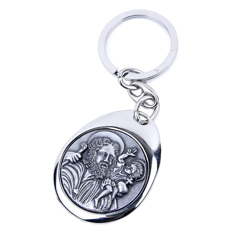 Porte-clefs Saint Christophe métallique