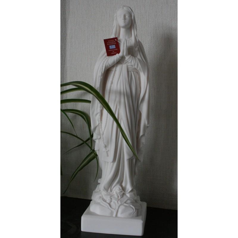 Statue Trés siante Vierge Marie Lourdes, Albâtre  blanc